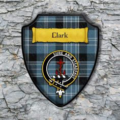 Clark Plaque with Scottish Clan Badge on Clan Tartan Background by YourCustomStuff on Etsy https://www.etsy.com/listing/265103690/clark-plaque-with-scottish-clan-badge-on