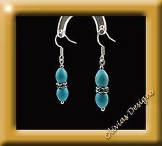 Sterling silver Earrings, oval Turquoise with blue Swarovski Crystal rings  #jewellery #earwires #necklace #earrings #olivias #silver #bracelets #gold #saphir #sapphire