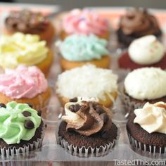 Assorted mini Cupcakes - http://www.tastedthis.com/2013/03/17/assorted-mini-cupcakes/