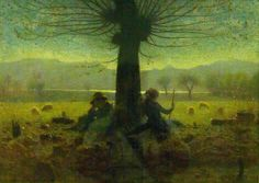Guiseppe Pellizza da Volpedo (Italian, - Two Shepherds In A Field of Mongini Giuseppe Arcimboldo, Italian Painters, Caravaggio, Renoir, Fabric Crafts, Arts And Crafts, Artist, Landscapes, Painting