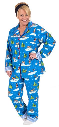 "PJ Salvage Women's Fall Into Flannel ""Skating Moose"" Pajama Set in Blue - SHOP https://www.thepajamacompany.com/pj-salvage-women-s-fall-into-flannel-skating-moose-pajama-set-in-blue.html?category_id=11378"
