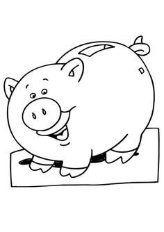 piggy bank coloring page for children online