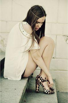 white dress, leopard heels.