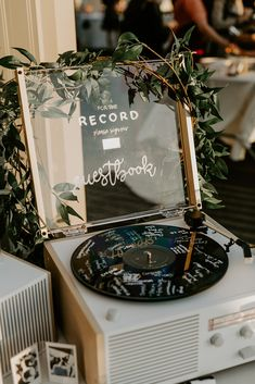 For the record guest book. Perfect Wedding, Fall Wedding, Wedding Reception, Our Wedding, Dream Wedding, Punk Rock Wedding, Speakeasy Wedding, Wedding Stuff, Wedding Wishes