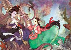 Contos de fada ocidentais reinterpretados como pinturas de oleo coreanas 6