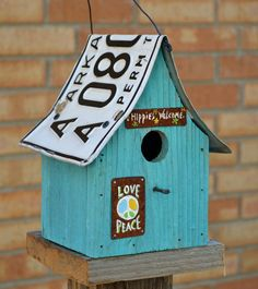 Birdhouse  Hippie House  Peace sign by ruraloriginals on Etsy, $28.00