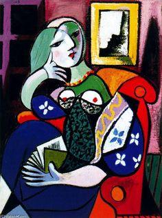 Pablo Picasso >> Mujer con libro (Retrato de Marie-Thérèse Walter)  |
