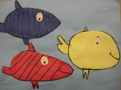 Primary Fish by MiniMatisse.blogspot.com....  Dr Seuss as an inspiration was perfect. I read, 'One Fish, Two Fish, Red Fish, Blue Fish' to the kids and we drew 3 fish on primary paper.