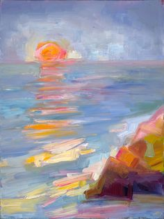 "Saatchi Online Artist: Lena Levin; Oil, 2012, Painting ""Mendocino Sunset"""