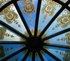 Detail of the stained glass dome of the cupola (from the sailing ship Zealandia) in the grounds of Larnach Castle, Dunedin. Dunedin New Zealand, Glass Domes, Old Houses, Scenery, Castle, Old Things, Gems, Vacation, Arches