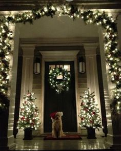 No matter how big or small your entry way is, this is perfect!  Modify the size of your trees if you don't have enough room or if it looks cluttered.  Even 1 tree on the side with 2 small fake presents would work!  Www.digsdigs.com
