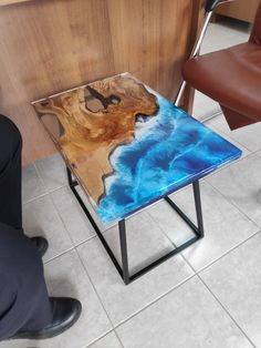 Custom order Ocean sea RIVER COFFEE TABLE with blue epoxy | Etsy