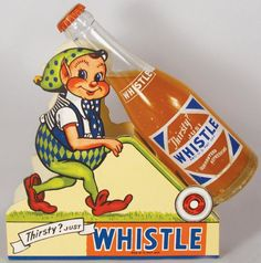 Whistle Bottle & Die Cut Cardboard Store Display : Lot 868