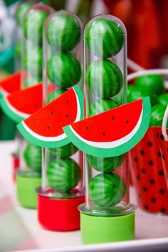 Magali or Watermelon Decoration: Over 50 Ideas - Magali or Watermelon Decoration: Over 50 Ideas – Inspire Your Party ® - Watermelon Birthday Parties, Fruit Birthday, Fruit Party, 1st Birthday Parties, Happy Birthday B, Hawaian Party, Moana Party, Flamingo Party, Tropical Party