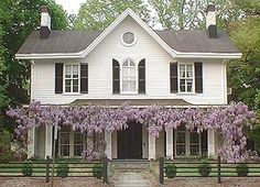 Love the wisteria. I can still smell it in my memory from my grandparents front porch swing. Outdoor Spaces, Outdoor Living, Outdoor Decor, Outdoor Ideas, Backyard Ideas, Abandoned Houses, Old Houses, Wisteria Garden, Beautiful Homes