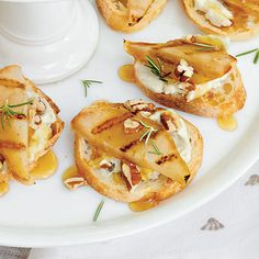 Gorgonzola-Grilled Pear Crostini - The Easy, Breezy, Summer Party: Recipes, Tips, and Ideas - Southern Living