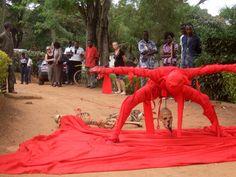 Jelili Atiku performing Eleniyan (In The Red Series #13), 2012, Lagos