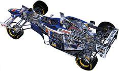1997 Williams Renault cutaway by Tony Matthews Spanish Grand Prix, Italian Grand Prix, Cutaway, Nascar, Adrian Newey, Gp F1, Automobile, Formula 1 Car, Car Illustration