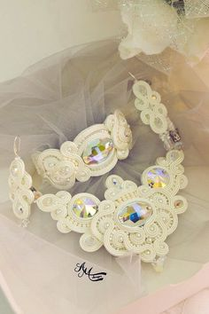 Bridal soutache set.Soutache necklace. by AMdesignSoutache on Etsy