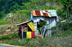 This is a Jamaica Hut Mon...shot from the car on the way to Negril.