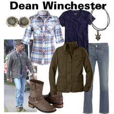 Dean Winchester by fandom-wardrobes on Polyvore featuring polyvore, fashion, style, J.Crew, Eddie Bauer, Levi's, Qupid, clothing, supernatural and dean winchester