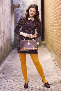 60s Inspired Collared Dress, Yellow Tights, and Burgundy Shoes