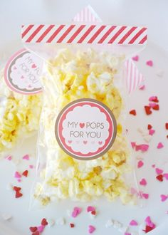 Popcorn Valentines with Printable tags