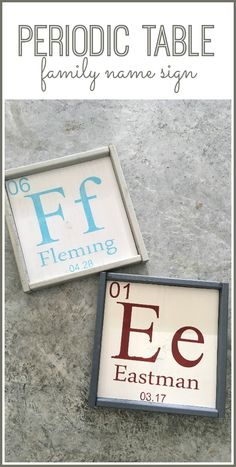 "love this Periodic Table of Elements family name sign - such a fun ""geek"" gift idea! - - Sugar Bee Crafts"