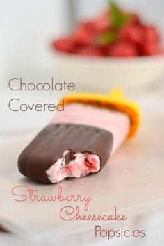 Chocolate Covered Strawberry Cheesecake Popsicles - Food Doodles.  Made with cream cheese, honey, Greek yogurt, strawberries, dark chocolate and coconut oil