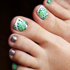 Tropical Toe Nail Designs For Summer design art Nail Designs For Toes That Will Make You Feel Zen ❤️ See more: naildesignsjourna. Pretty Nail Designs, Diy Nail Designs, Simple Nail Designs, Cute Toenail Designs, French Nails, French Manicures, Thin Nails, Summer Toe Nails, Pedicure Designs