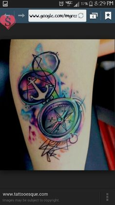 Watercolor compass n anchor tattoo