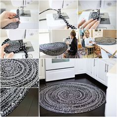 How to Make Modern Fabric Circle Rug with Rope | www.FabArtDIY.com         #tutorial #sew project, #craft, #rug              Follow us on Facebook ==> https://www.facebook.com/FabArtDIY