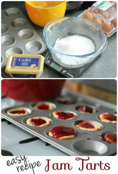 Easy jam tarts recipe to bake with children or toddlers using flora Baking With Toddlers, Cooking With Kids Easy, Kids Cooking Recipes, Cooking Corn, Kids Baking, Cooking Games, Baking With Children, Cooking Classes, Cooking Rings