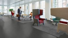 Check out this solid marble design that differentiates itself from the classic Marmoleum flooring with its subtle concrete structure. Linoleum Flooring, Concrete Floors, Drying Room, Good Environment, Concrete Structure, Floor Colors, Light Colors, Colours, Office Walls