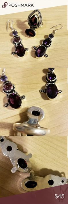 African Amethyst/Amethyst earrings and ring set -hand-made, my mother and I have made jewelry together since I was very young - we hand-pick stones, do all settings, met all work, beading, etc. ourselves - unique one-of-a-kind pieces - this is African amethyst, has been heated to give the lighter shades of purple  - amethyst in the raw is very deep purple while the lighter the piece means more heat application applied  -everything is set is quality 925 silver hand-made Jewelry