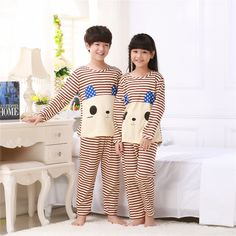 Spring autumn New Kids long sleeved Pajamas Sets Girls Pajama boys  Sleepwear children Home Clothing Cartoon Baby nightgown 3-13T 0a374898b