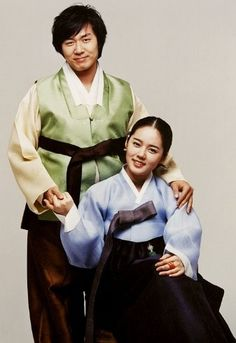 Couple Dressed in Hanbok (Korean Traditional Dress)