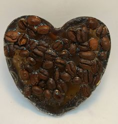 Coffee, heart shaped, scented soap bar by Heaven Senses. by HeavenSenses on Etsy