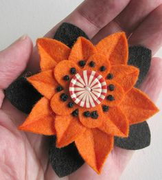 Felt Flower Pin Halloween Orange and Black with by dorothydesigns