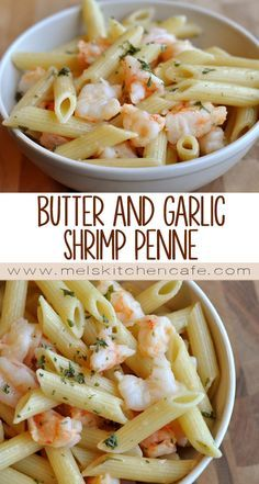 Butter and garlic shrimp penne