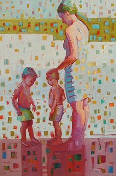 """""""Babes on the beach,"""" by Rene' Wiley by René Wiley Gallery Oil ~ 30 x 20"""
