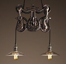 Cast-Iron Barn Door Trolley Pendant | Utility Pendants | Restoration Hardware
