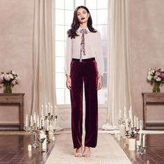 LC Runway Velvet Wide Leg Pants
