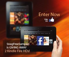 SnagFreeSamples.com is giving away 2 Kindle Fire HDs! FB Like to enter!