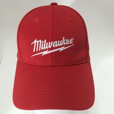 Milwaukee Power Tools Red Baseball Hat Cordless Drills & Sawzall Logo Cap NWOT #WildImpactMarketing #BaseballCap