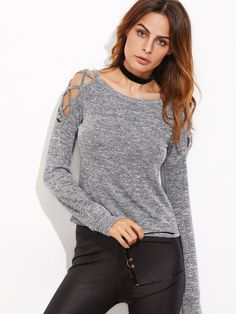 Grey Marled Crisscross Open Shoulder T-shirt -SheIn(Sheinside) Mobile Site