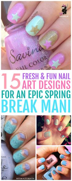 Here's a curated list of 15 simple spring nail art design tutorials with the hottest nail color shades for spring break! From bright colors and flowers to glitter and pastel shades, they're easy to recreate and super cute too.