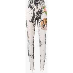 Gucci Gucci Embroidered Skinny Jeans (€1.235) ❤ liked on Polyvore featuring jeans, black, skinny leg jeans, skinny fit jeans, 5 pocket jeans, bleached skinny jeans and bleached jeans