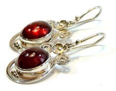 natural garnet silver earrings,hessonite earings,handmade,unique jewelry,sterling silver jewelry,gemstone, by Majlagalery on Etsy