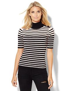 Shop Button-Detail Ribbed Mock-Neck Sweater - Stripe . Find your perfect size…